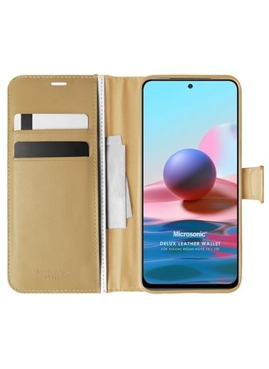 Microsonic Xiaomi Redmi Note 10S Kılıf Delux Leather Wallet Gold Altın